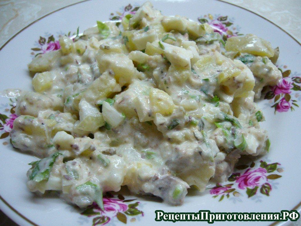 Салат с рыбными консервами и картошкой рецепт с